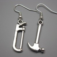 Saw and Hammer Earrings funky freaky kitschy quirky by Szeya