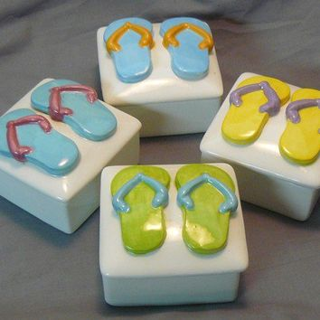Ceramic Keepsake Box - Customizable Flip Flop Ceramic Keepsake Boxes-Set of 4