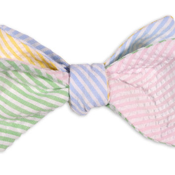 Seersucker Four Way Bow Tie in Pink, Green, Yellow and Light Blue by High Cotton