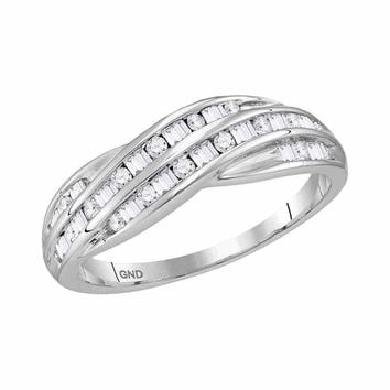 10kt White Gold Womens Round Baguette Diamond Crossover Band Ring 1/3 Cttw