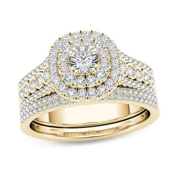 1 CT. T.W. Diamond Double Cushion Frame Multi-Row Bridal Engagement Ring Set in 14K Gold
