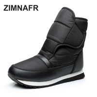 ZIMNAFR BRAND 2017 WOMEN SNOW BOOTS  FASHION ANTISLIP WARM MID-CLAF WOMEN WINTER BOOTS PLUS SIZE 35-43