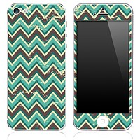 Vintage Brown and Green V2 Chevron Pattern Skin for the iPhone 3, 4/4s or 5