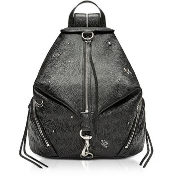 Rebecca Minkoff Black Grainy Leather Julian Backpack w/Pins