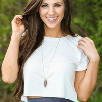 New York Style Crop Top-Ivory