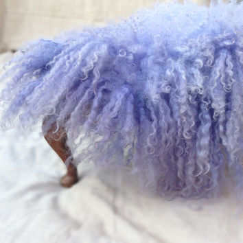 Flokati Large Curly Felt Fur Rug Mat Blanket Fleece Real Wool Hand Felted Lavender Blue by Feltfur RTS