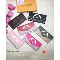 LV Fashion Female Printed Handbags, Coloured Long Wallets Rose red