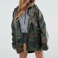 Reclaimed Vintage Inspired Raincoat In Camo at asos.com