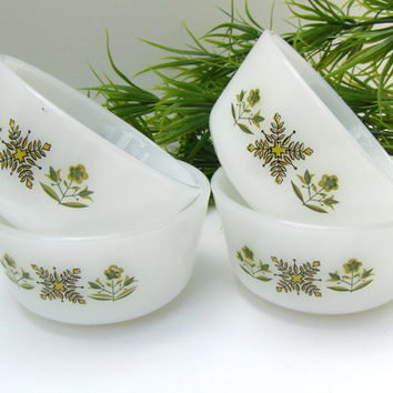 Anchor Hocking Fire King Custard Cups Meadow Green Vintage Baking Dishes