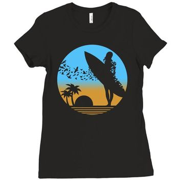 beach surfer silhouette birds sand waves palm Ladies Fitted T-Shirt