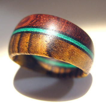 Tapered Wooden Ring - Bubinga and Bocote with Dyed Wood