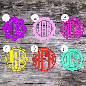 Circle Monogram Decal | Fancy Circle Monograms | Girl Monogram Decal | Prepster Decal | MacBook Decal | iPhone Decal | Preppy Decal | 017