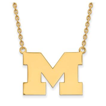 NCAA 14k Gold Plated Silver U of Michigan Large Pendant Necklace