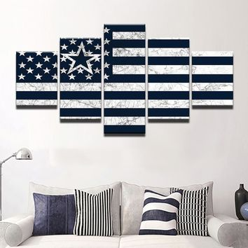TYG Modern Home Decor  Wall Art Canvas Posters 5 Pieces Dallas Cowboys Flag Modular Pictures Painting Frame Living Room HD Print