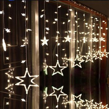 LAIMAIK AC110V or 220V Holiday Lighting LED Fairy Star Curtain String luminarias Garland Decoration Christmas Wedding Light 2M