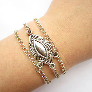The Eyes bracelet---antique silver cool EYES pendant Multilayer bracelet& antique silver chain