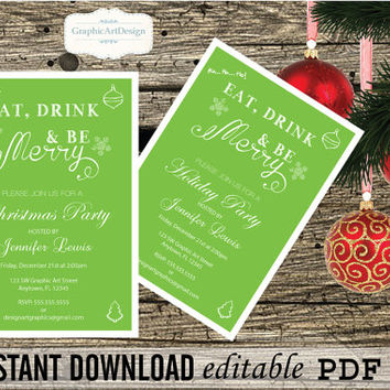 Eat Drink and Be Merry - DIY Printable Christmas Invitation Editable PDF Templates - 5x7 Christmas Invitation Instant Download DiY You Print