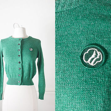 Vintage Girl Scouts Sweater / 1980s Cardigan Sweater / Kelly Green Cardigan Sweater / Vintage 80s Sweater / Cropped Sweater / 70s Sweater