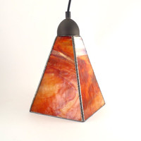 Stained Glass Pendant Lighting, Ceiling Fixture, Hanging Lamp, Glass Shade, Kitchen Light, Modern Home Decor, Sunset Colors