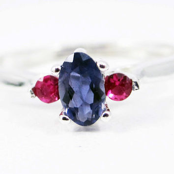Small Iolite Oval and Ruby Accent Ring Sterling Silver, Water Sapphire Ring, Natural Iolite Ring, Rubby Accent Ring, Iolite Oval Ring