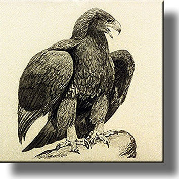 American Golden Eagle Picture on Stretched Canvas, Wall Art Decor, Ready to Hang!
