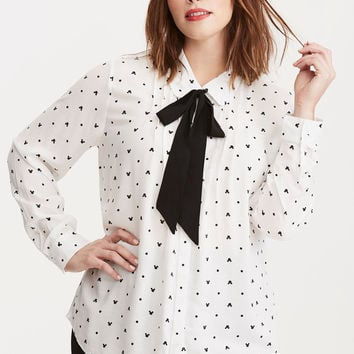 Mickey & Minnie Collection Print Tie Neck Blouse