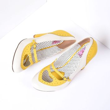 Yellow & Cream Poppy Heart Spectator Heels