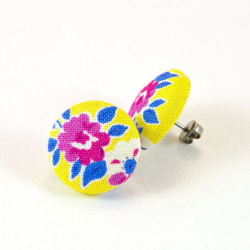 Floral Ear studs - fabric covered button earrings - spring fashion bright colors