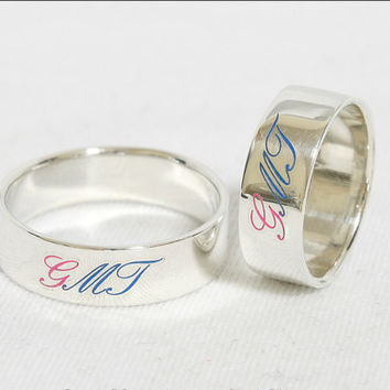 Personalized Ring Engraved Ring .925 Sterling Silver Engraved with Color Character 4 mm Width
