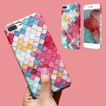 For iPhone 8 Mermaid Scales Pattern Shockproof 360 Degree Full Protect Hard PC Phone Back Case Cover For iPhone 6 6S Plus 7 Plus