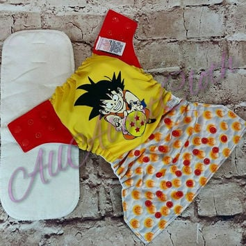 Pocket cloth diaper, dragonball z inspired cloth diaper, anime cloth diaper, cloth diaper, custom cloth diaper PUL cloth diaper,diaper cover