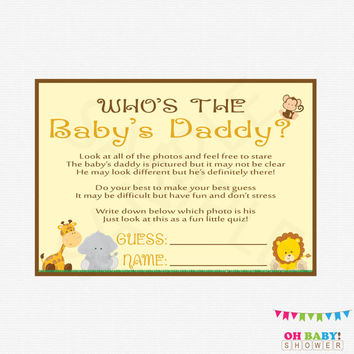Safari Baby Shower Games Who's the Baby's Daddy Jungle Baby Shower Games Boy Baby Printable Instant Download Guess the Baby Daddy BS0001-N