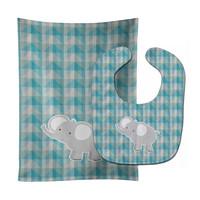 Elephant Baby Bib & Burp Cloth BB7022STBU