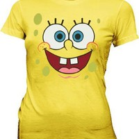 SpongeBob SquarePants Basic Bob Face Yellow Juniors T-shirt Tee