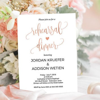 Rose gold rehearsal dinner invitation with modern calligraphy for a simple wedding invitation template. Elegant wedding invite. #WDH302_20