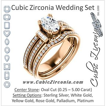 CZ Wedding Set, featuring The Kaitlyn engagement ring (Customizable Oval Cut with Flanking Baguettes And Round Channel Accents)