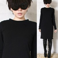 RTBU Cotton Punk Long Sleeve Top T Shirt Tunic Casual Pajama Style Dress Black
