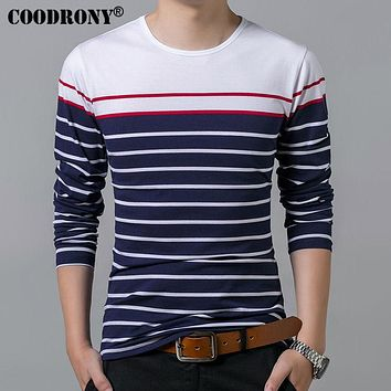 T-Shirt Men Long Sleeve O-Neck T Shirt Men Spring Casual Striped Tops Pure Cotton Tees Slim Fit Shirts