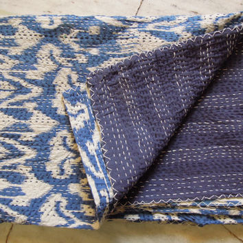 Blue Twin Ikat Kantha Quilt Blanket - Cotton Quilted Bedspreads,Throws,Ralli,Gudari Handmade Tapestery REVERSIBLE Bedding 60x90inch
