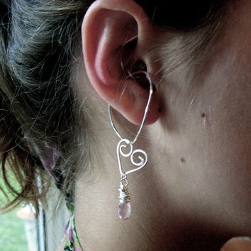 Hoop Style Ear Cuffs, Ear Wraps, Earcuff, Non Pierced Earrings, Pair of Silver Ear Cuffs with Bleeding Heart Charms
