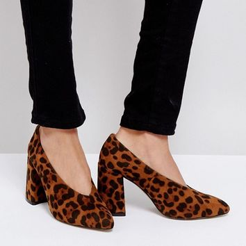 Boohoo Vamp Block Heeled Shoe In Leopard at asos.com