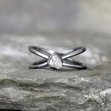 Raw Diamond Infinity Ring - Ready to Ship Size 7 - Limited Edition Engagement Rings - Sterling Silver - Rough Uncut Diamonds -Made in Canada