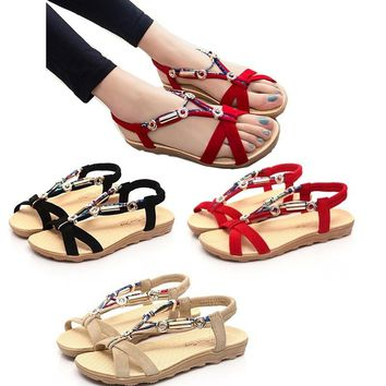 Women Sandals Flats Ankle-Strap Shoes Women Summer Sandals Flip Flop Sandale Femme Red Sandals