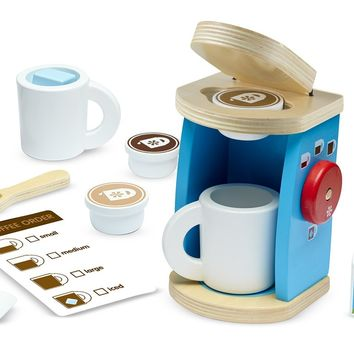 Melissa & Doug 11-Piece Brew and Serve Wooden Coffee Maker Set - Play Kitchen Accessories Single