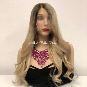 Light Ash Blond Ombré Full Lace Wig - Lozeta