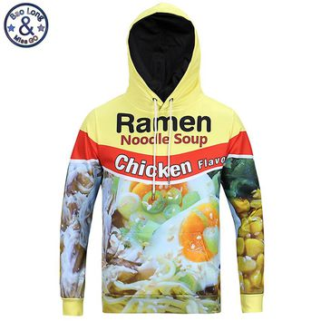 Mr.BaoLong newest youth fashion 3D Ramen noodle printed hooded sweatshirts men 's Harajuku man assassins creed hoodies H7