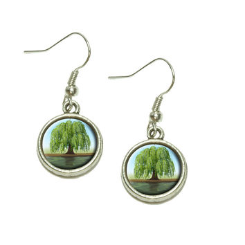 Old Weeping Willow Tree Dangle Drop Silver Charm Earrings
