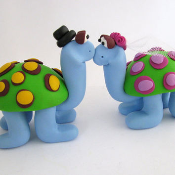 custom wedding cake topper - turtle love - polymer clay