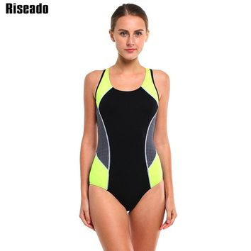 Riseado New Swimwear Women Sports One Piece Swimsuits Racer Back Competition Swimming Suits Patchwork Bathing Suits