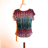 Colorful Sequin Blouse 1980s Sparkly Short Sleeve Glitter Top size M